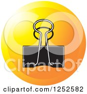 Clipart Of A Round Orange Binder Clip Icon Royalty Free Vector Illustration