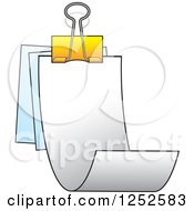 Clipart Of A Binder Clip And Receipts Royalty Free Vector Illustration