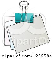 Clipart Of A Binder Clip And Notes Royalty Free Vector Illustration