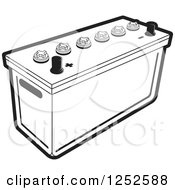 Clipart Of A Black And White Battery Royalty Free Vector Illustration