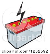 Clipart Of A Battery And A Bolt Royalty Free Vector Illustration