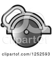 Clipart Of A Grayscale Circular Saw Royalty Free Vector Illustration