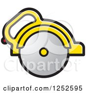 Clipart Of A Yellow Handled Circular Saw Royalty Free Vector Illustration by Lal Perera