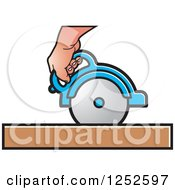 Clipart Of A Hand Operating A Circular Saw Royalty Free Vector Illustration