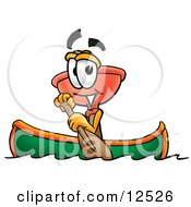 Sink Plunger Mascot Cartoon Character Rowing A Boat