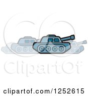 Blue Military Tank In Motion