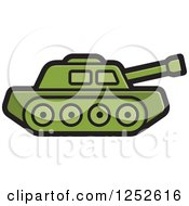 Clipart Of A Green Military Tank Royalty Free Vector Illustration