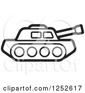 Clipart Of A Black And White Military Tank Royalty Free Vector Illustration