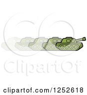 Clipart Of A Green Military Tank In Motion Royalty Free Vector Illustration by Lal Perera