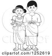 Clipart Of Black And White Children With Sinhala Sweets And Betel Royalty Free Vector Illustration