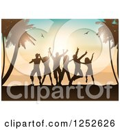 Clipart Of Silhouetted People Dancing On A Beach With Palm Trees And Gulls At Sunset Royalty Free Vector Illustration