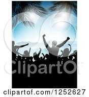 Clipart Of Silhouetted People Dancing On A Beach With Palm Trees And Flares Royalty Free Vector Illustration