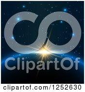 Clipart Of A Sun Rising Over A Planet Over Stars Royalty Free Vector Illustration by KJ Pargeter