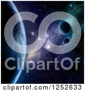 Clipart Of A 3d Outer Space Background Of Fictional Planets Royalty Free Illustration by KJ Pargeter