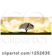 Clipart Of A 3d Lone Tree On A Hill Against An Orange Sunset With Clouds Royalty Free Illustration