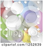 Clipart Of A Colorful Background With White And Transparent Circles Royalty Free Vector Illustration by KJ Pargeter