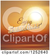 Clipart Of Enjoy Summer Text With An Orange Sunset Royalty Free Vector Illustration