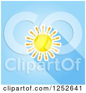 Clipart Of A Summer Sun And Shadow Over Blue Royalty Free Vector Illustration