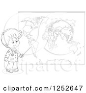 Black And White School Boy Pointing To A Map