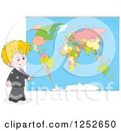Blond Caucasian School Boy Pointing To A Map
