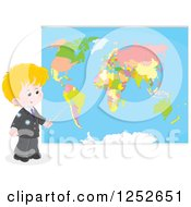 Blond White School Boy Pointing To A Map