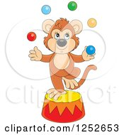 Clipart Of A Talented Monkey Juggling Balls On A Podium Royalty Free Vector Illustration