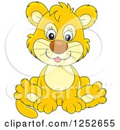 Clipart Of A Cute Lion Cub Sitting Royalty Free Vector Illustration