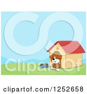 Clipart Of A Dog With A Bone In His House With Text Space Royalty Free Vector Illustration