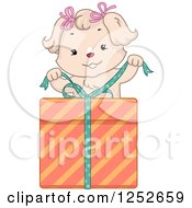 Clipart Of A Cute Dog Unwrapping A Birthday Gift Royalty Free Vector Illustration