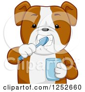 Clipart Of A Bulldog Brushing His Teeth And Holding A Cup Royalty Free Vector Illustration