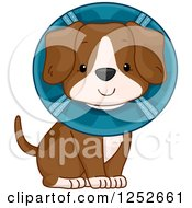 Clipart Of A Cute Puppy Dog Wearing A Cone Royalty Free Vector Illustration