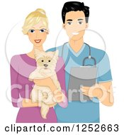 Clipart Of A Blond Caucasian Woman Holding A Dog By A Handsome Male Veterinarian Royalty Free Vector Illustration