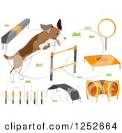 Poster, Art Print Of Dog With Agility Course Items