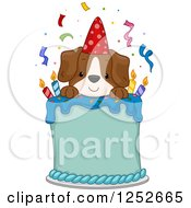 Clipart Of A Happy Puppy Dog On A Birthday Cake Royalty Free Vector Illustration by BNP Design Studio