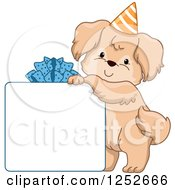Clipart Of A Cute Dog Resting On A Gift Box Sign Royalty Free Vector Illustration