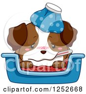 Clipart Of A Cute Sick Puppy Dog With A Thermometer And Ice Pack Royalty Free Vector Illustration