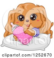 Clipart Of A Cute Cocker Spaniel Puppy With A Bottle Royalty Free Vector Illustration by BNP Design Studio