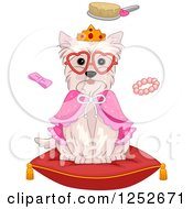 Clipart Of A Spoiled Dog Sitting On A Pillow With Grooming Accessories Royalty Free Vector Illustration
