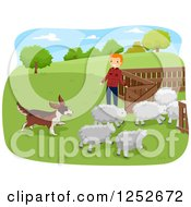 Clipart Of A Red Haired Caucasian Farmer And Herding Dog With Sheep Royalty Free Vector Illustration by BNP Design Studio