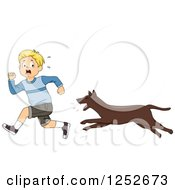 Clipart Of A Blond Caucasian Boy Running From An Attacking Dog Royalty Free Vector Illustration