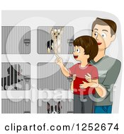Clipart Of A Brunette Caucasian Father And Son Picking Out A Dog At A Shelter Royalty Free Vector Illustration