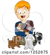 Clipart Of A Happy White Boy With Puppies Royalty Free Vector Illustration