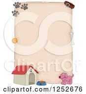 Clipart Of A Dog Border With A House And Prints Royalty Free Vector Illustration by BNP Design Studio