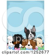 Clipart Of A Blue Background With Bones And Dogs Royalty Free Vector Illustration