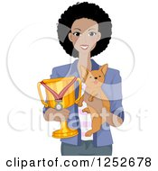 Proud African American Woman Holding Her Award Winning Dog And Trophy
