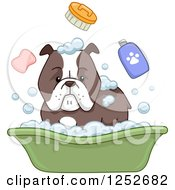 Clipart Of A Bulldog And Bath Accessories Royalty Free Vector Illustration