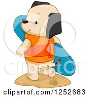 Clipart Of A Cute Puppy Dog With A Surf Board Royalty Free Vector Illustration by BNP Design Studio