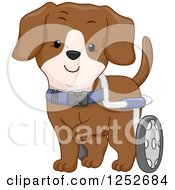 Clipart Of A Handicap Dog With Wheels Royalty Free Vector Illustration