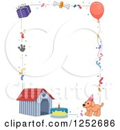 Clipart Of A Dog Birthday Border With Text Space Royalty Free Vector Illustration