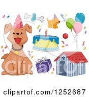 Clipart Of A Birthday Dog And Party Accessories Royalty Free Vector Illustration